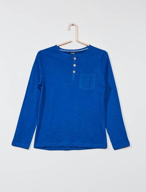 T-shirt uni col tunisien                                                                 bleu foncé Garçon