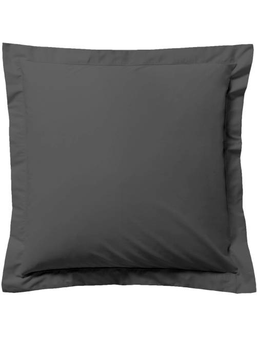 taie d 39 oreiller unie linge de lit gris anthracite. Black Bedroom Furniture Sets. Home Design Ideas
