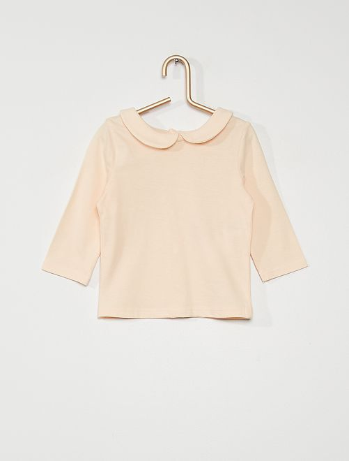 Tee-shirt col Claudine éco conçu                                                     rose pastel