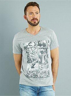 T-shirt col v - Tee-shirt col V jersey imprimé