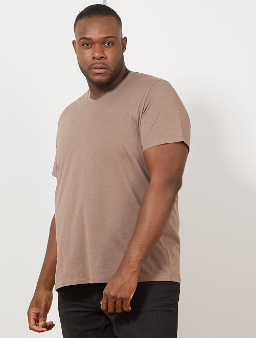 Tee-shirt comfort jersey uni                                                                                                                                                                 taupe Grande taille homme