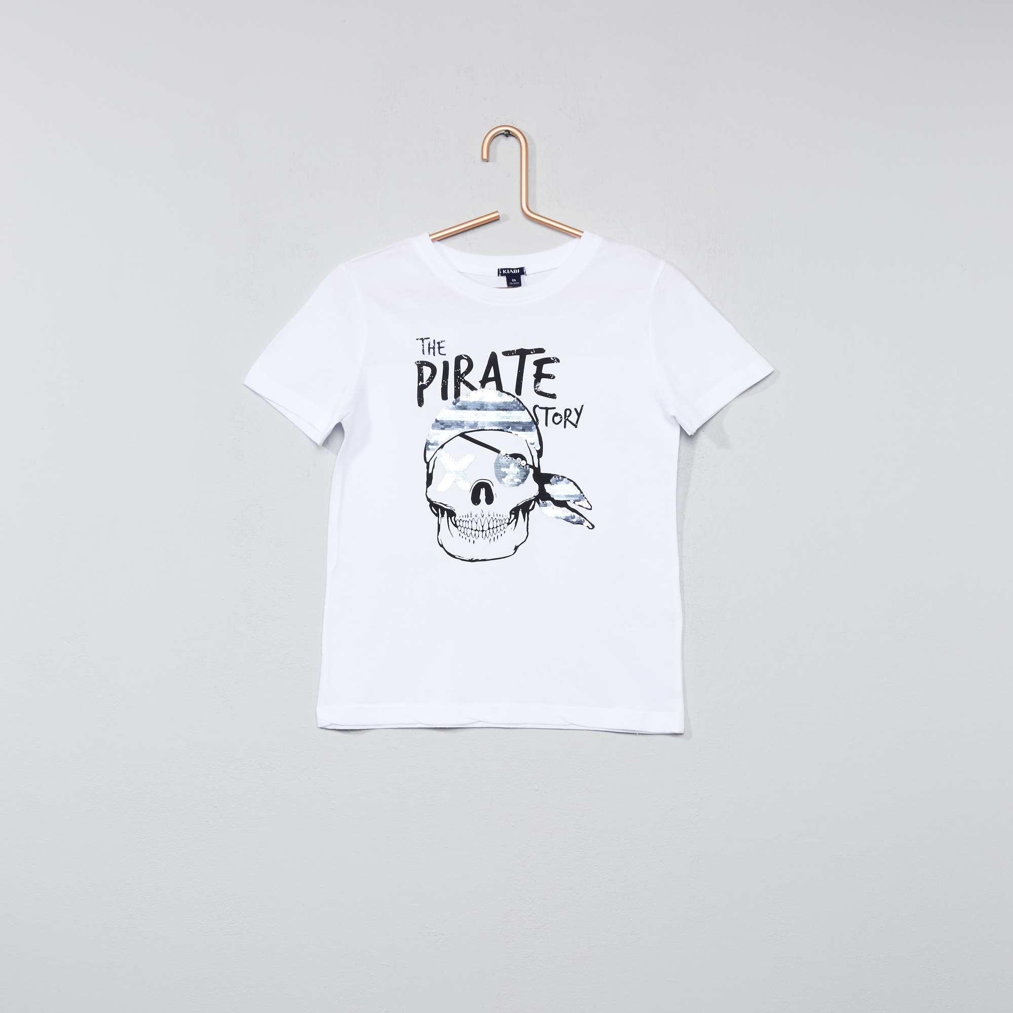 tee shirt coton avec sequins r versibles gar on blanc kiabi 7 00. Black Bedroom Furniture Sets. Home Design Ideas