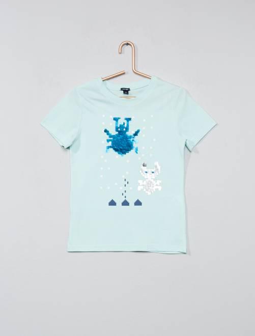 tee shirt coton avec sequins r versibles gar on bleu vert kiabi 7 00. Black Bedroom Furniture Sets. Home Design Ideas