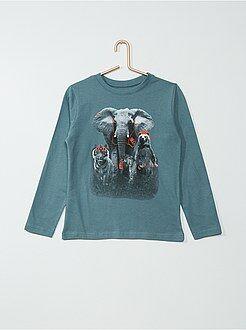 Tee shirt, polo bleu - Tee-shirt coton imprimé 'animaux'