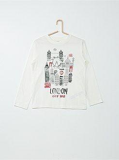 Tee shirt, polo blanc - Tee-shirt coton imprimé 'London'