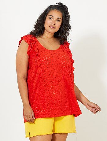 Grande taille femme - Tee-shirt effet broderie anglaise - Kiabi