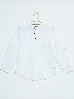 Tee shirt, polo - Tee-shirt en coton et lin col mao