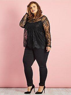 Grande taille femme Tee-shirt en dentelle 2 en 1