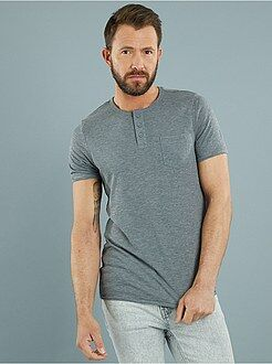 Tee-shirt fitted jersey flammé col tunisien