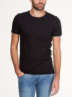 Tee-shirt fitted jersey flammé poche poitrine
