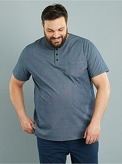 Grande taille homme Tee-shirt fitted motif tissé