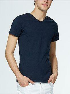 Tee-shirt jersey col V