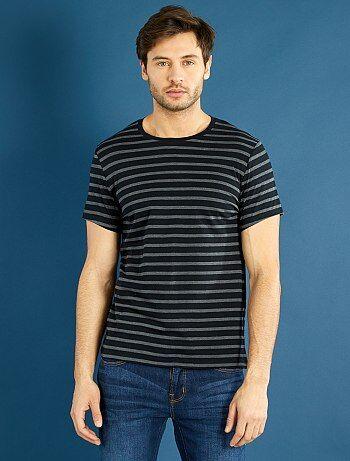 Tee-shirt jersey rayé                                                                                 gris/noir  Homme