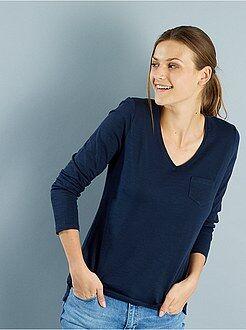 T-shirt, débardeur - Tee-shirt manches longues col V maille flammée - Kiabi