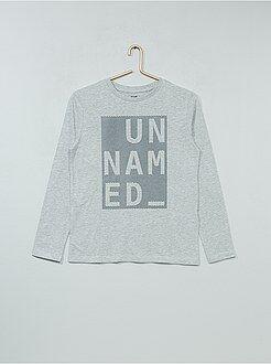 Tee shirt, polo gris - Tee-shirt manches longues en coton imprimé