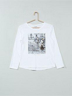 Tee-shirt manches longues imprimé pailleté