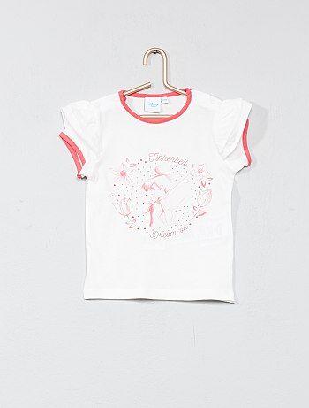 Tee-shirt manches volantées 'Fée Clochette' - Kiabi