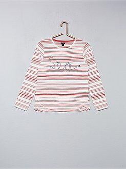 Tee-shirt rayé brodé cordelette - Kiabi