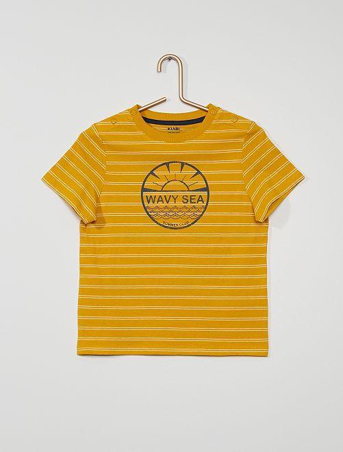 Tee-shirt rayé et imprimé                                         jaune