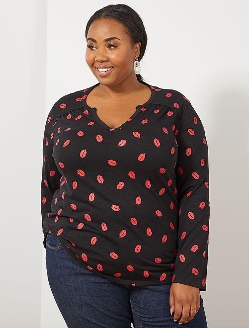Tee-shirt tunisien imprimé                                                                                                                             noir rouge Grande taille femme