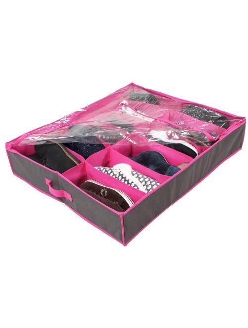 Tiroir de rangement chaussure en tissu                             anthracite/fuchsia