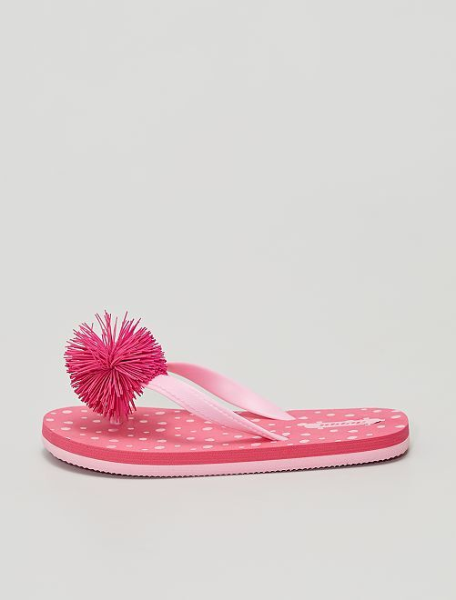 Tongs en plastique avec pompon                             rose
