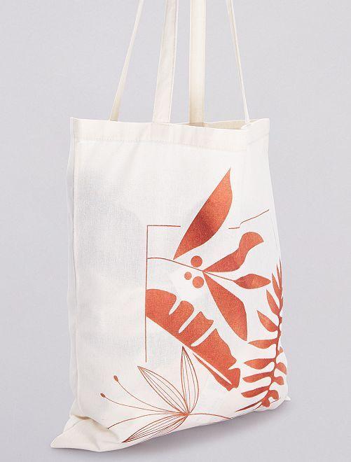 Totebag à motifs                                                     blanc/fleurs marron