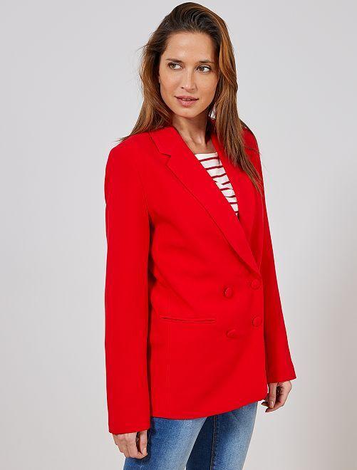 Veste blazer double boutonnage                     rouge