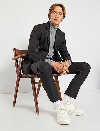 Veste de costume regular en twill                              noir Homme