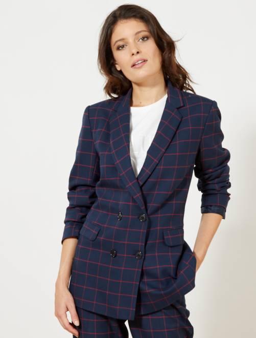 veste de tailleur carreaux femme bleu marine kiabi 29 00. Black Bedroom Furniture Sets. Home Design Ideas