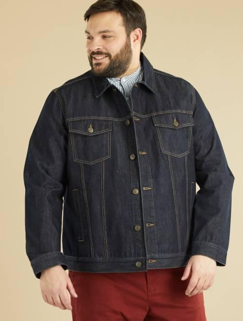 veste en jean grande taille homme brut kiabi 25 00. Black Bedroom Furniture Sets. Home Design Ideas