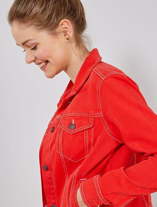 veste en jean color femme rouge kiabi 20 00. Black Bedroom Furniture Sets. Home Design Ideas