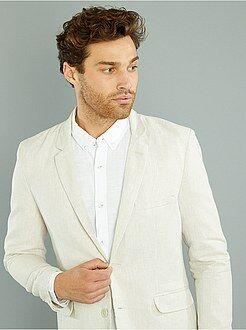 Manteau, veste - Veste slim en lin et coton