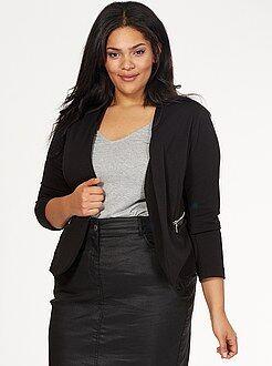 Veste, blazer noir - Veste tailleur col simili et poches zippées