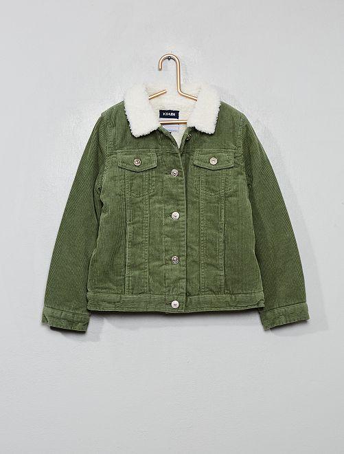 Veste velours doublée moumoute                                         vert