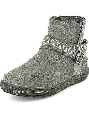 Boots bi-matière simili et suédine - Kiabi