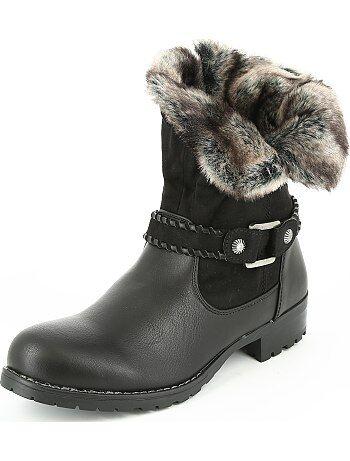 Boots bimatière fausse fourrure - Kiabi