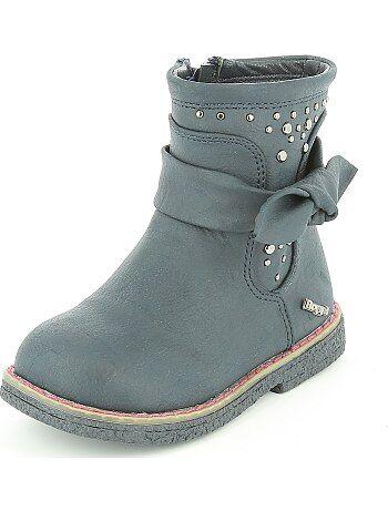 Boots en simili toucher peau de pêche - Kiabi
