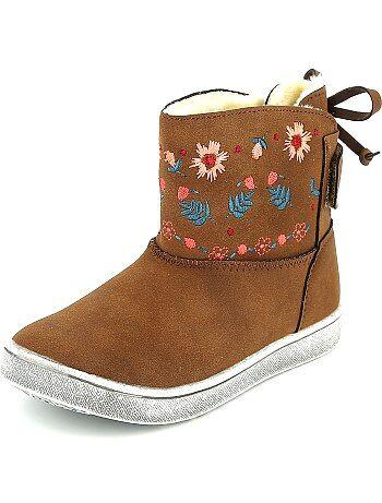 Boots fourrées à broderie florale - Kiabi