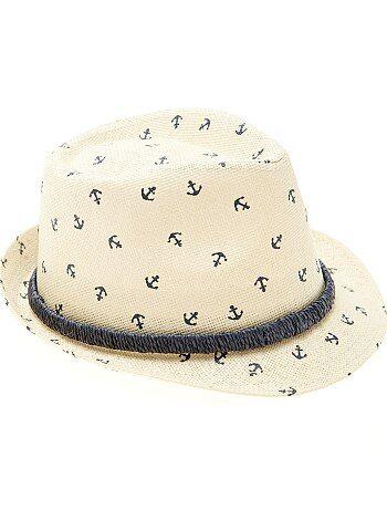 Chapeau de paille type panama imprimé - Kiabi