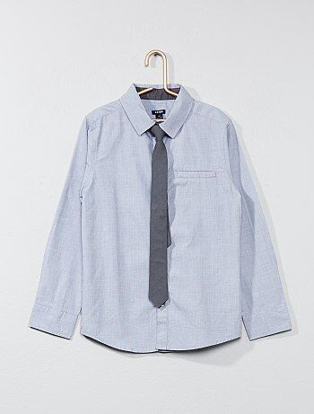 Chemise manches longues + cravate - Kiabi