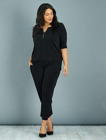 Grande taille femme - Combinaison pantalon encolure zippée à strass - Kiabi
