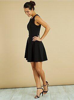 Zwarte jurk - Geplooide jurk met gekruiste bandjes - Kiabi