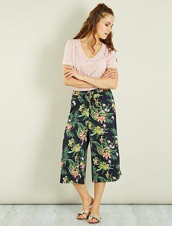 Femme du 34 au 48 - Jupe-culotte fluide fleurie - Kiabi