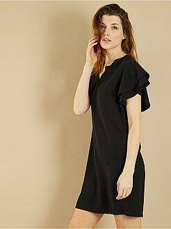 Zwarte jurk - Jurk van crêpestof met zwierige mouwen - Kiabi