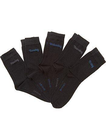 Homme du S au XXL - Lot 5 paires de chaussettes 'jour de la semaine' - Kiabi