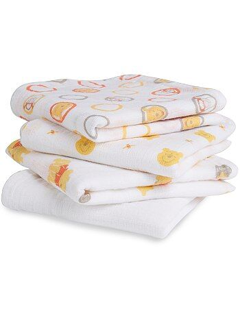 Lot de 4 langes 60 x 60 cm imprimés 'Ideal Baby' - Kiabi
