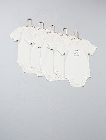 Garçon 0-36 mois - Lot de 5 bodies pur coton - Kiabi