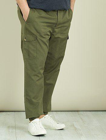 Pantalon battle en lin et coton - Kiabi