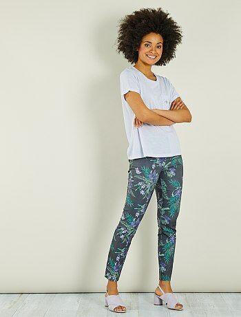 Pantalon fleuri slim fit - Kiabi